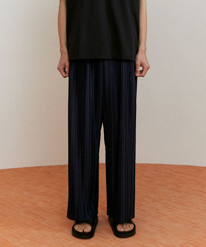 PLEATED PANTS[NAVY]