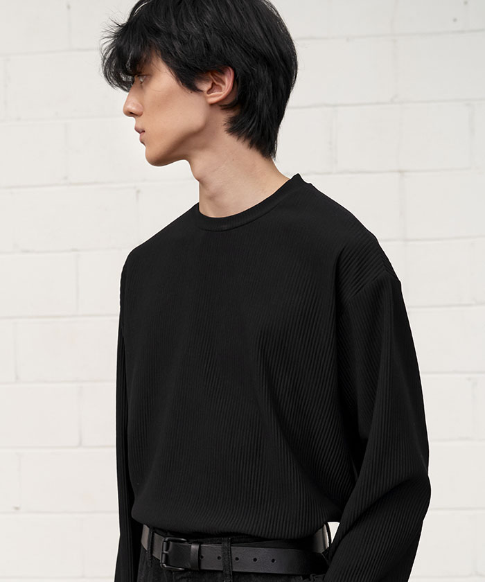 PLEATS LONG SLEEVE[BLACK]