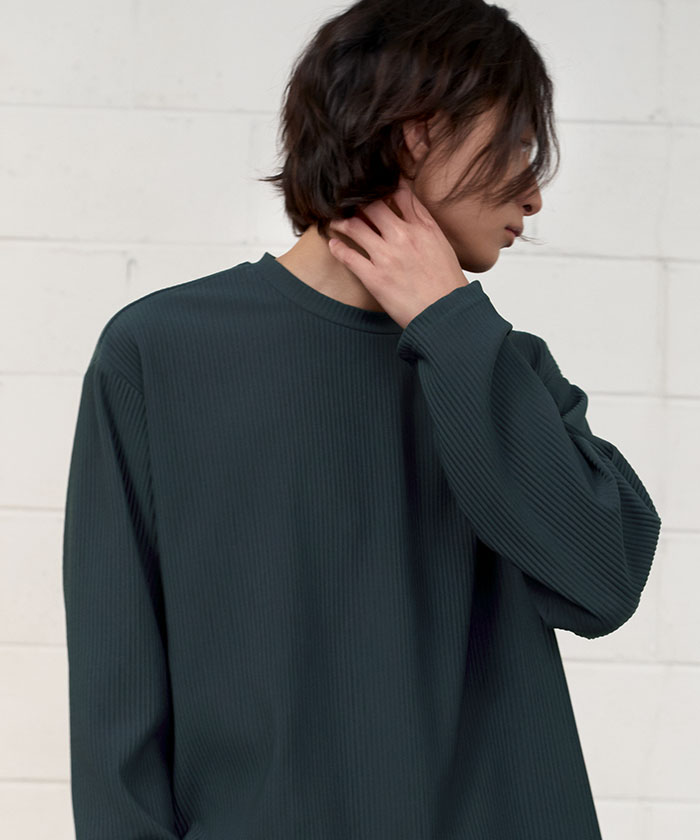 PLEATS LONG SLEEVE[KHAKI]